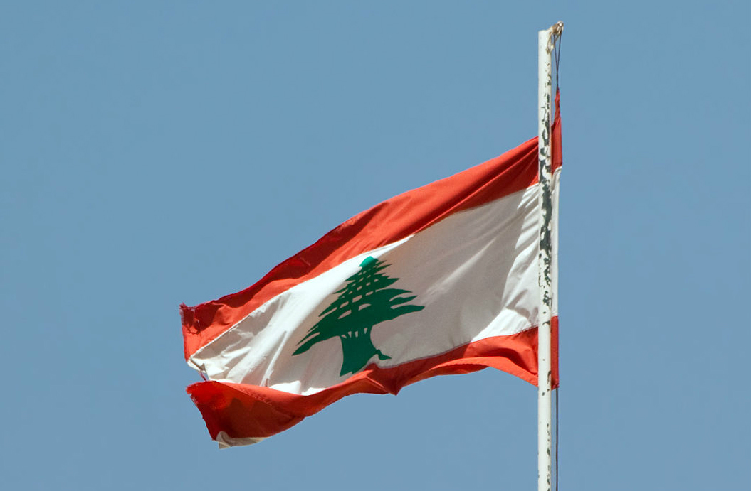 The Lebanese flag floating over the palace of Beit ed-Dine