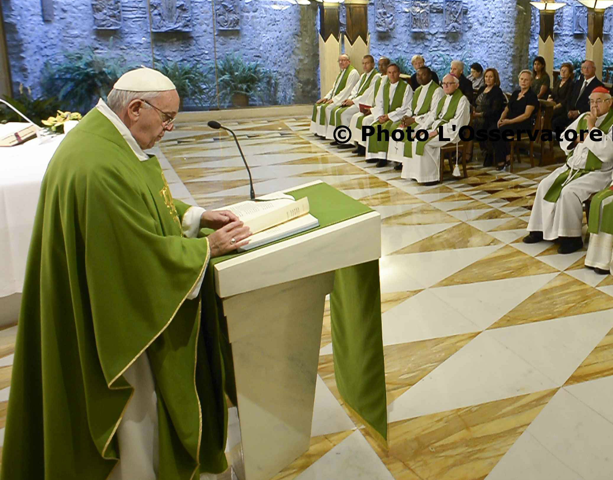 Pope Francis during today's Morning Mass in Santa Marta