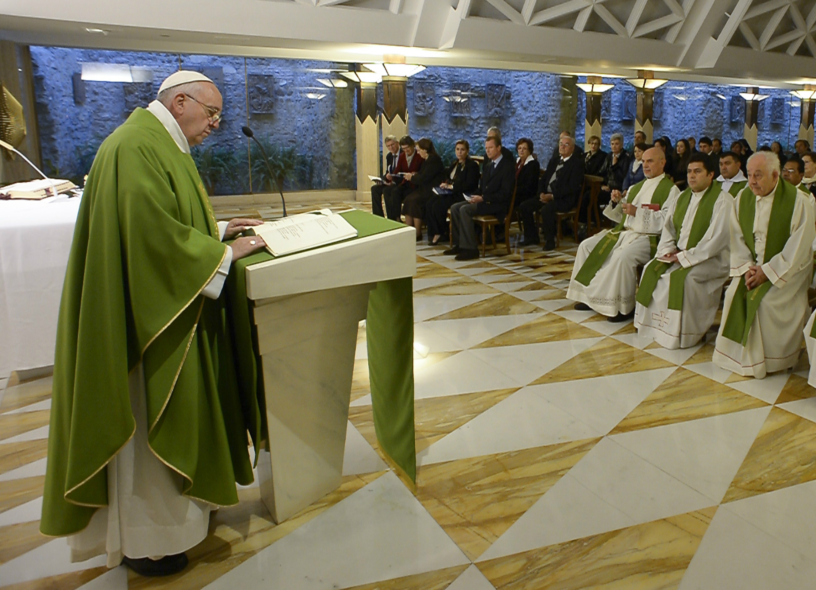 Pope Francis during the Morning Mass in Santa Marta