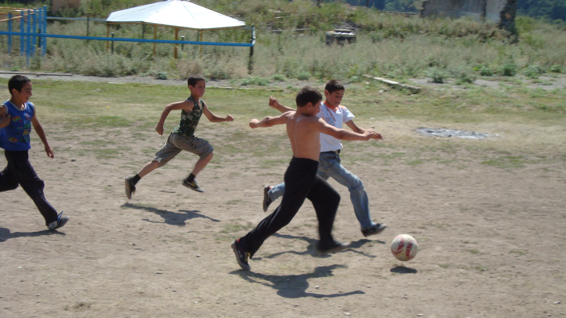 Children playing football near school in Kalbajar (Azerbaijan)