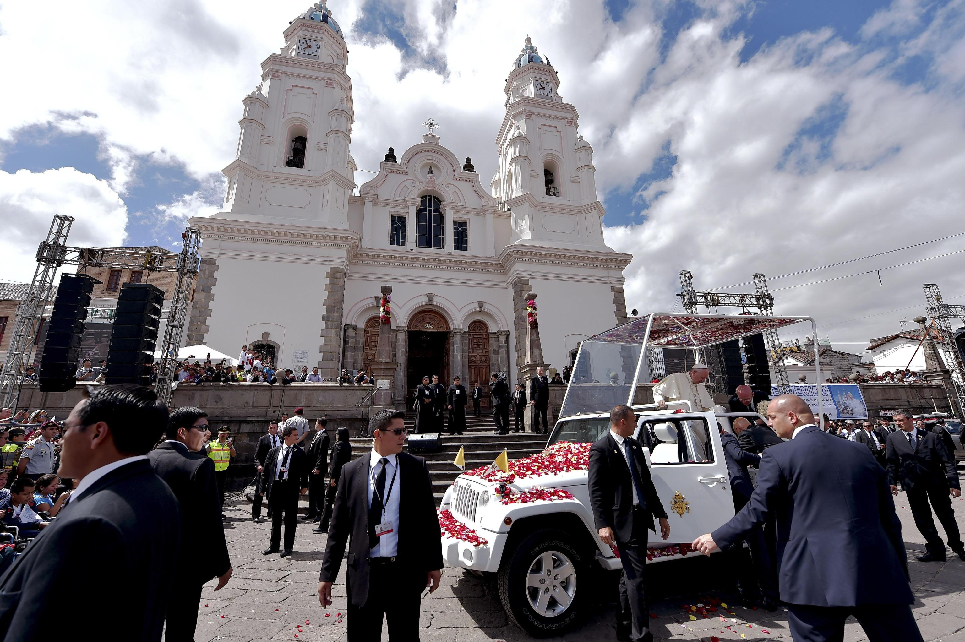 Pope Francis during his visit to the National Shrine in El Quinche