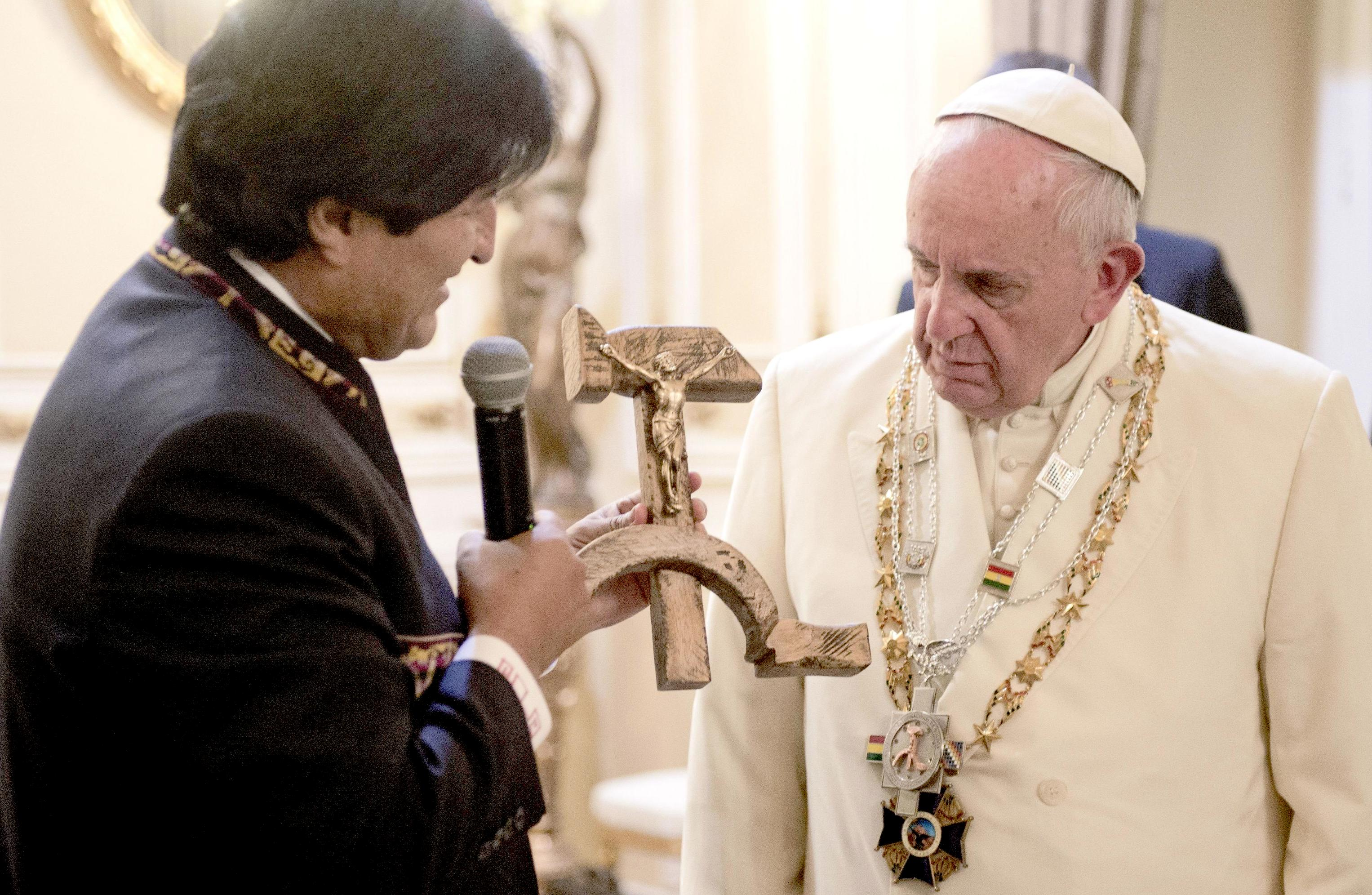 Crucifix carved into a wooden hammer and sickle given to Pope Francis by Bolivian President Evo Morales