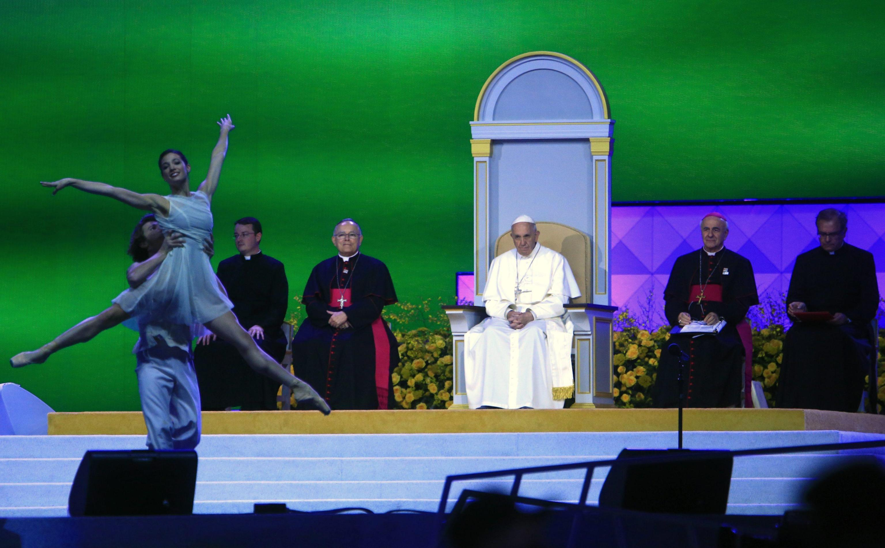 Pope Francis watches a performance as he attends the Festival of Families in Philadelphia