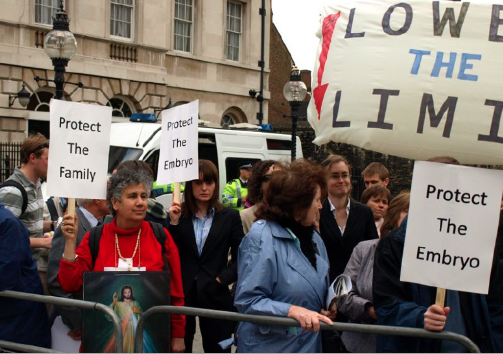 Pro-choicers and pro-lifers demonstrated in Parliament Square