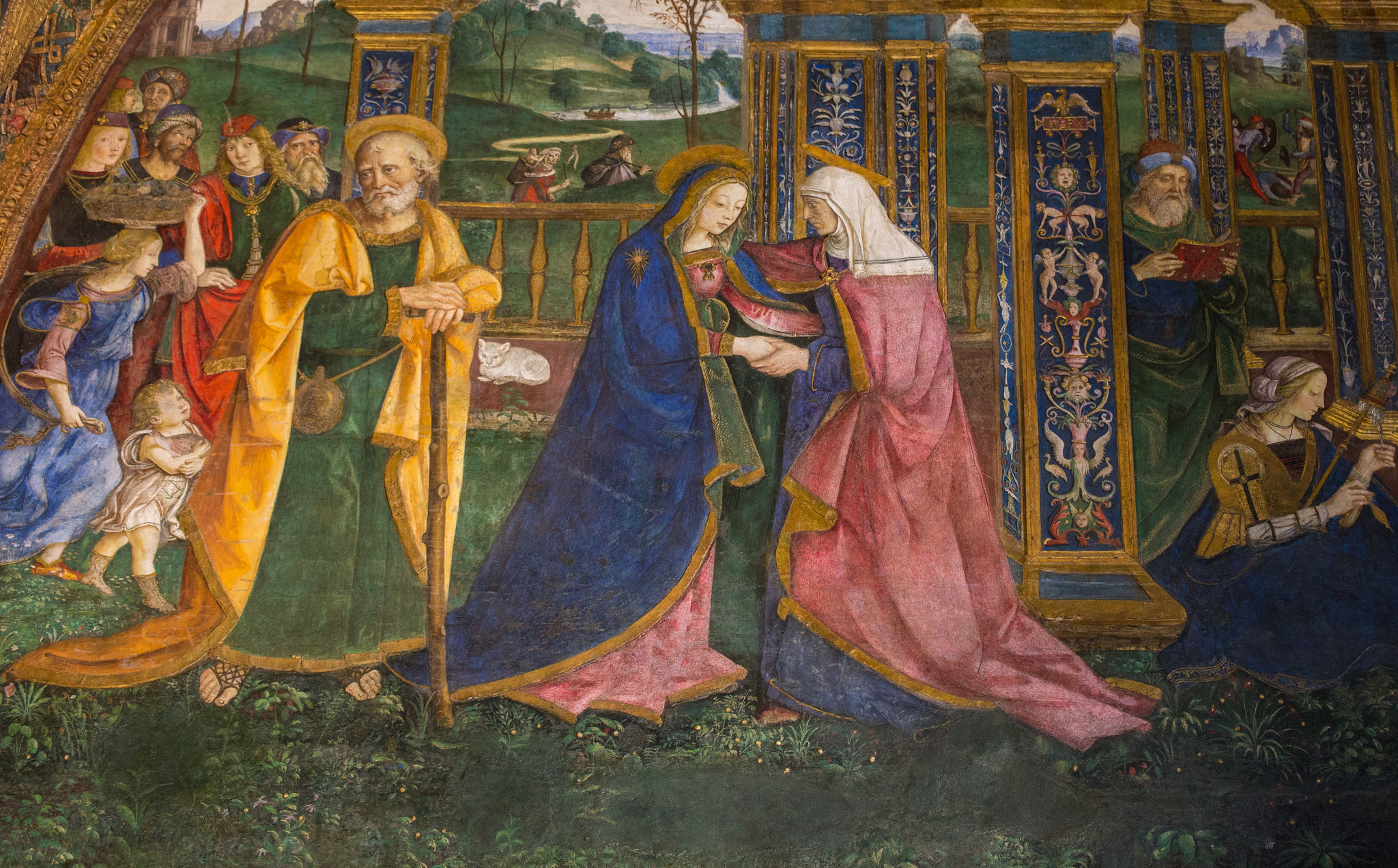 Pinturricchio - The Visitation of the Virgin Mary to Elisabeth with saint Joseph - Affresco from the Vatican Museums