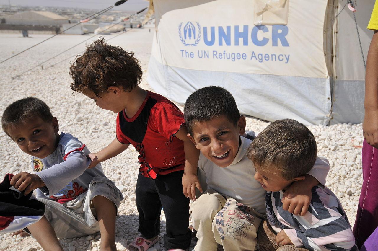 Syrian children in the Zaatari refugee camp