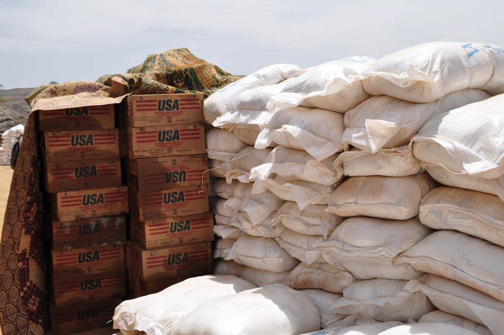 Aid from USAID and the UN's World Food Programme (WFP) in Ain Siro
