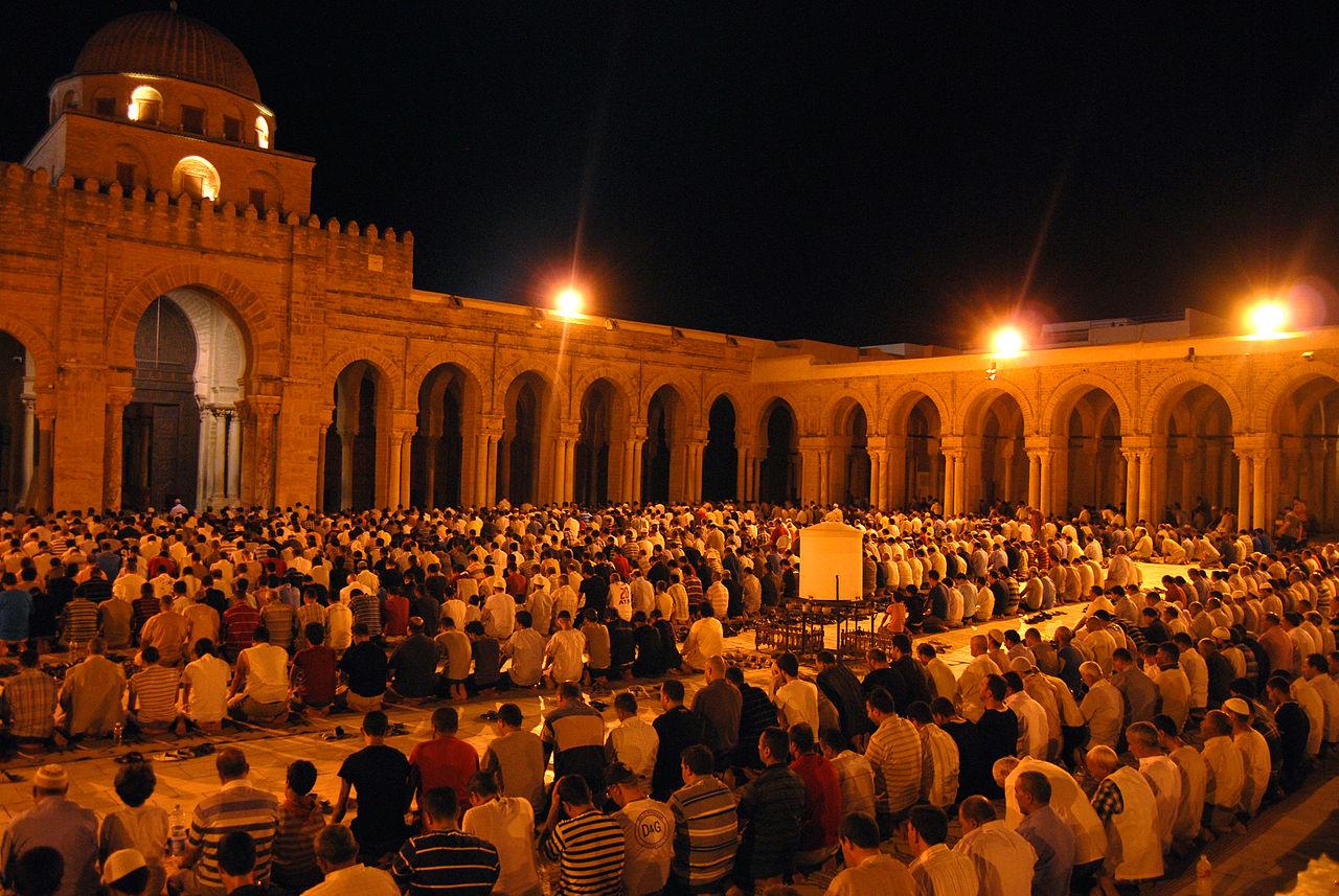 Muslims performing the Tarawih prayer during Ramadan 2012 in the Great Mosque of Kairouan