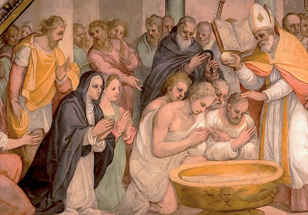 The baptism of saint Augustin done by saint Ambrose and in the presence of his mother saint Monica in the Cathedral of Milan