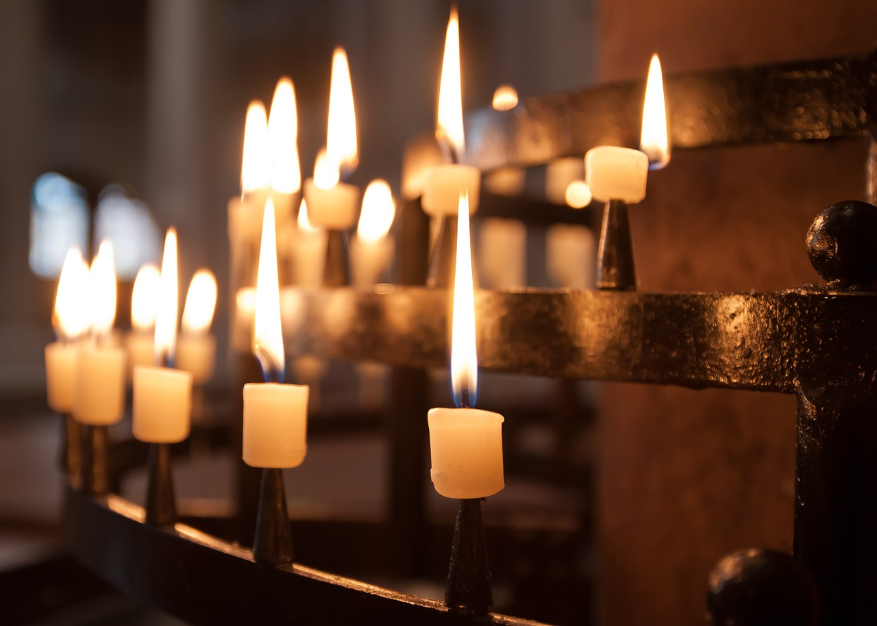 Light of candles into a church